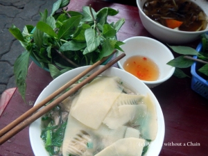 Duck noodle soup with bamboo at a street food stall in Hanoi