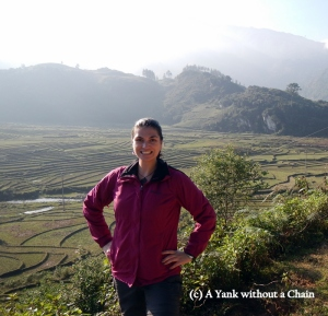 Posing with the rice terraces in the Sapa region of Vietnam