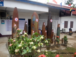 Some larger bombs on display outside the UXO Laos visitor center in Luang Prabang