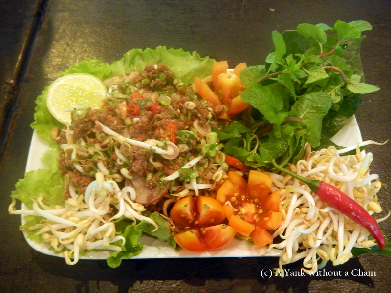 """Laap - a traditional Lao dish which means """"good luck"""" - made from buffalo meat and minced herbs"""