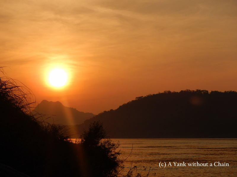 The sunset over the Mekong in Luang Prabang