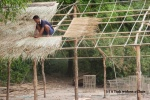 A local man thatching a roof on Don Khon