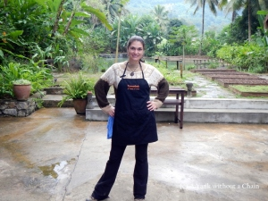 At Tamarind's cooking school, decked out in an apron