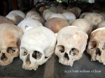 Skulls of the victims of the Killing Fields on display inside the memorial stupa