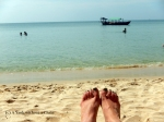 A green pedicure on the beach for Christmas!