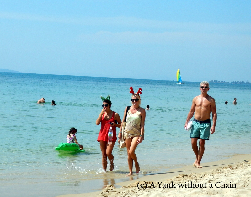 Festive beach attire on Christmas Day