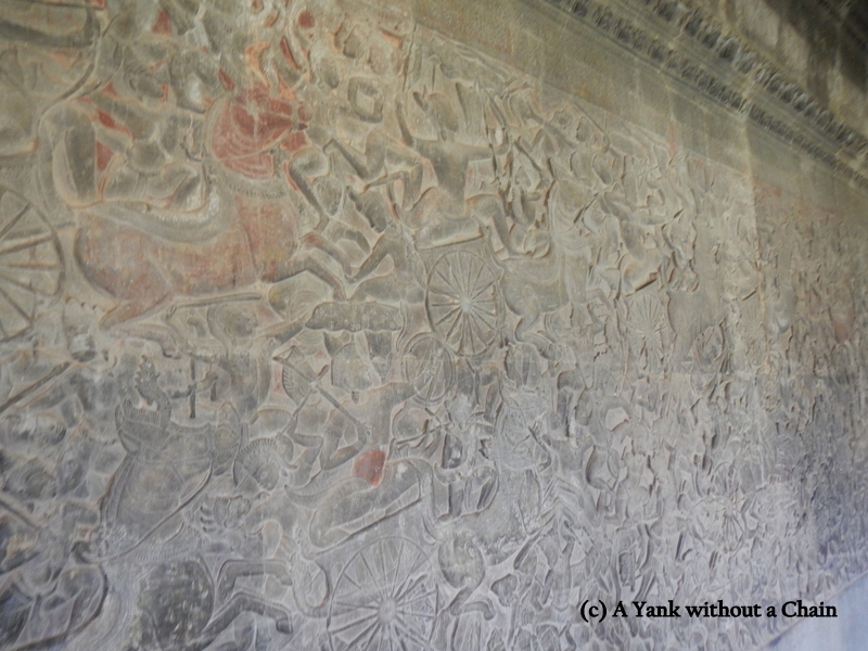 A closeup of the Angkor Wat bas relief, the longest continuous bas relief in the world.
