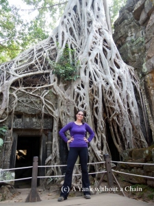 The Yank without a Chain posing at Ta Prohm