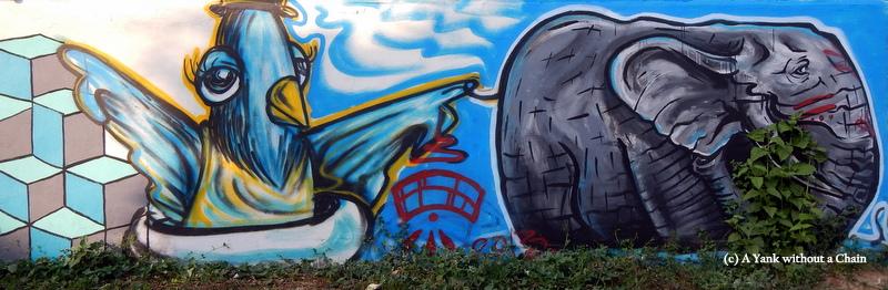 Chiang Mai Street Art Bird and Elephant