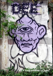 A cyclops painted on a wall in Chiang Mai
