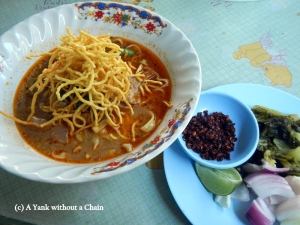 The local Chiang Mai noodle dish - Khao Soi - at a tiny restaurant called Khun Yai at the northern gate