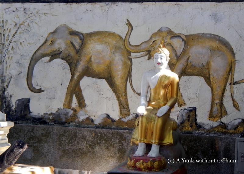 An elephant mural at Buddha statue at Wat Phra That Doi Suthep