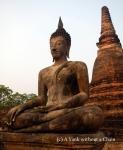 A Buddha statue at Wat Mahathat at Sukothai Historical Park