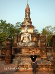 Standing in front of Wat Sa Si at Sukothai Historical Park