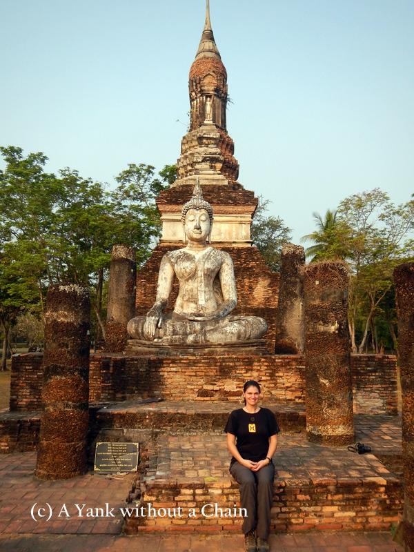 Standing in front of Wat Sa Si at Sukothai Historical Park