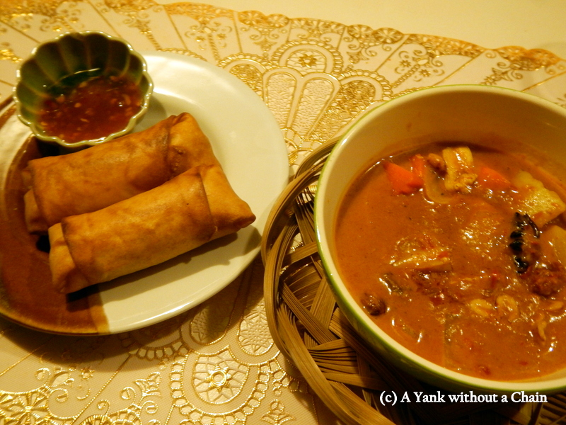 Spring rolls and massaman curry that I made during my Zabb-e-Lee cooking class in Chiang Mai