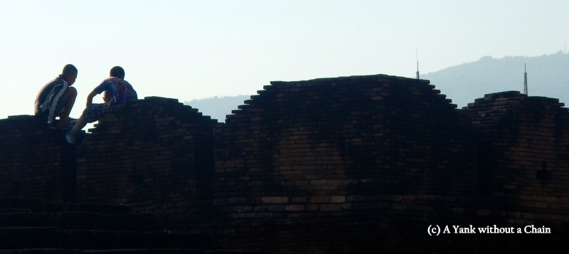 Boys on top of Chiang Mai's old city wall