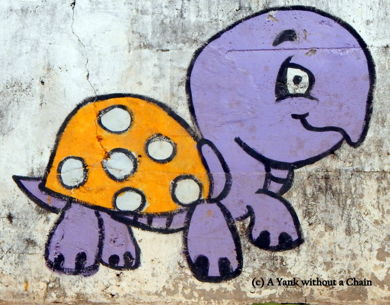 A cute turtle painted on a wall in New Sukothai