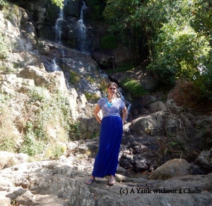 Standing in front of the Namuang waterfall on Koh Samui