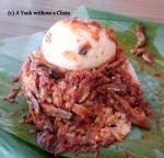 Very fishy Nasi Lemak at the Sri Weld food court on Lebuh Pantai