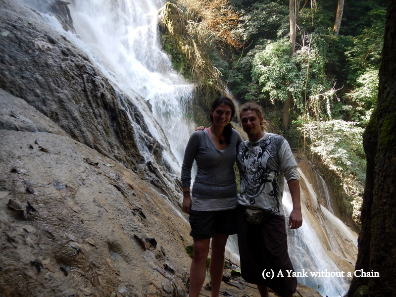 With a new hostel friend at Kuang Si falls outside Luang Prabang, Laos