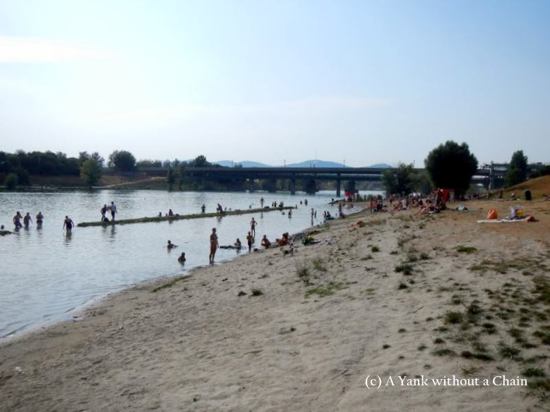 Swimming at the Danube River in Vienna