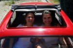 Dori and me in her friend's antique car in Eger, Hungary