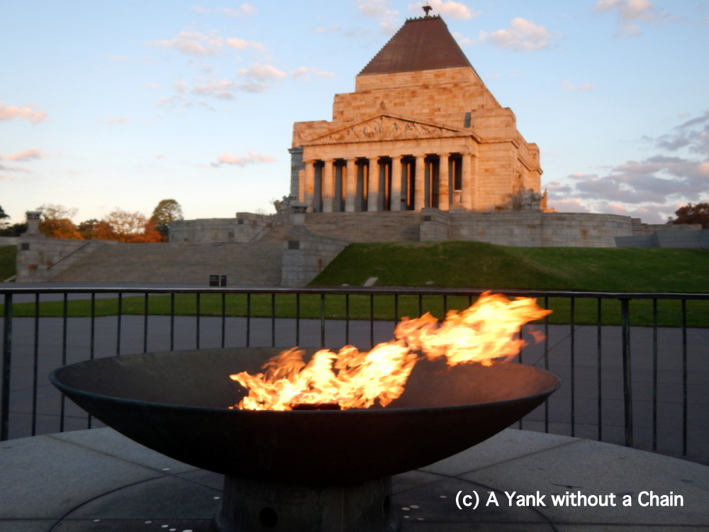 An eternal flame and the Shrine of Remembrance for Australia's fallen soldiers