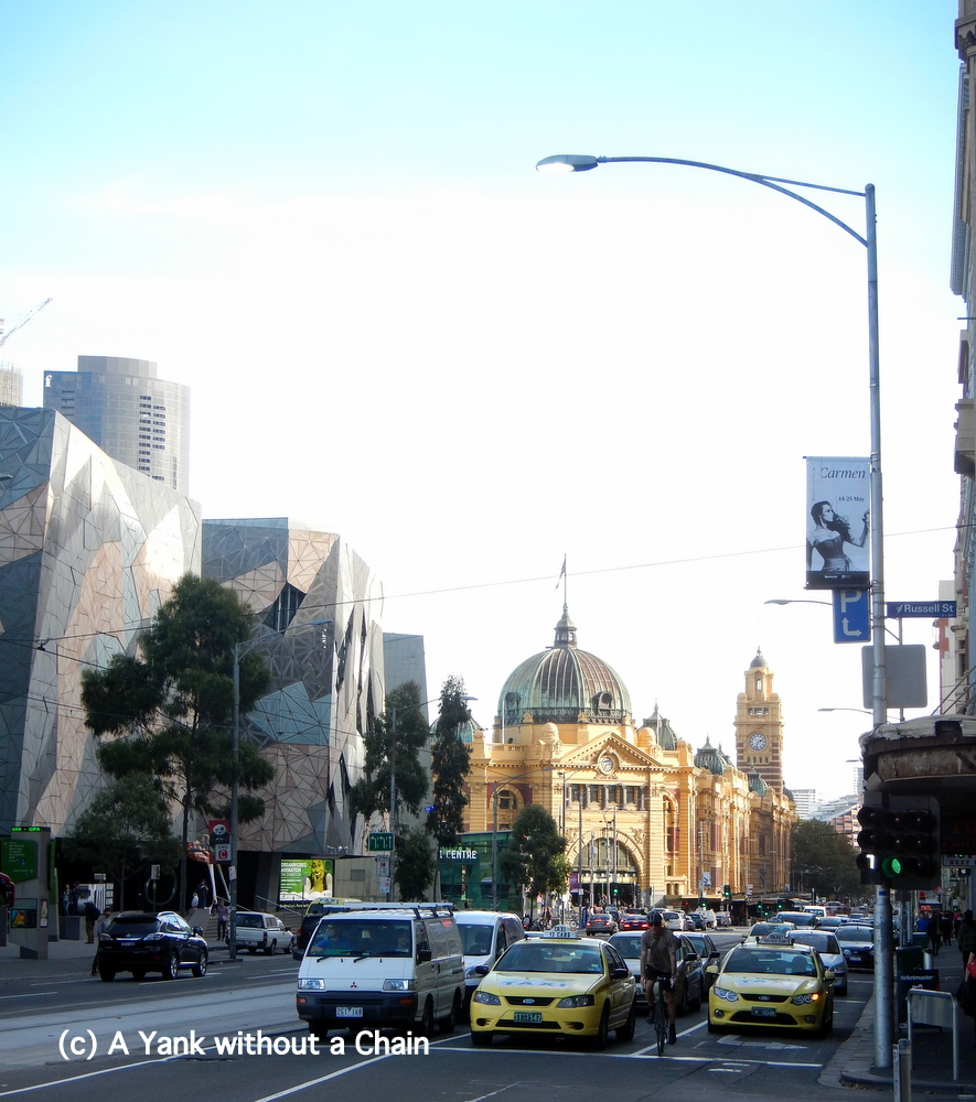 Looking down Flinders Street at the station