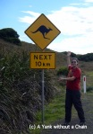 Posing with one of the ubiquitous kangaroo warning signs. Unfortunately I saw two - both roadkill :(