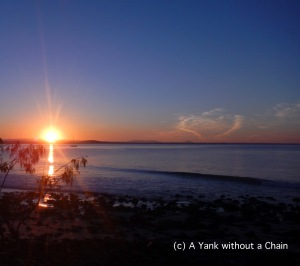 The start of sunset viewed from the coastal walking track of Noosa National Park