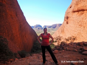 The Yank without a Chain posing at the Karingana lookout point at Kata Tjuta