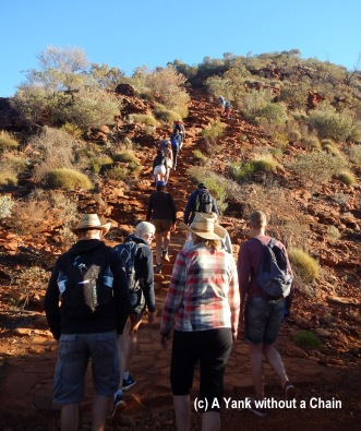 Beginning the rim walk with a steep hike up to the top of the canyon