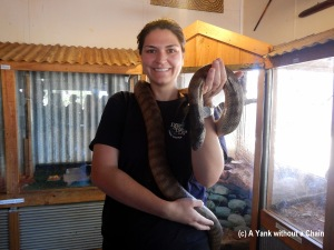 Making a new friend at a roadhouse off the Stuart Highway in the middle of nowhere!