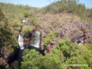 The view from above of Florence Falls - complete with rainbow - in Litchfield National Park