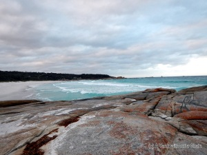 The spectacular view from the Bay of Fires beach