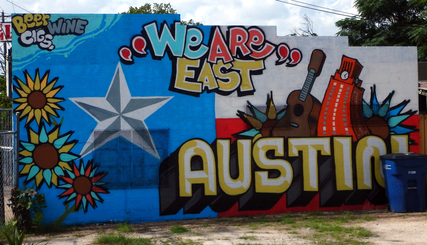 East austin street art a yank without a chain for Austin mural wall